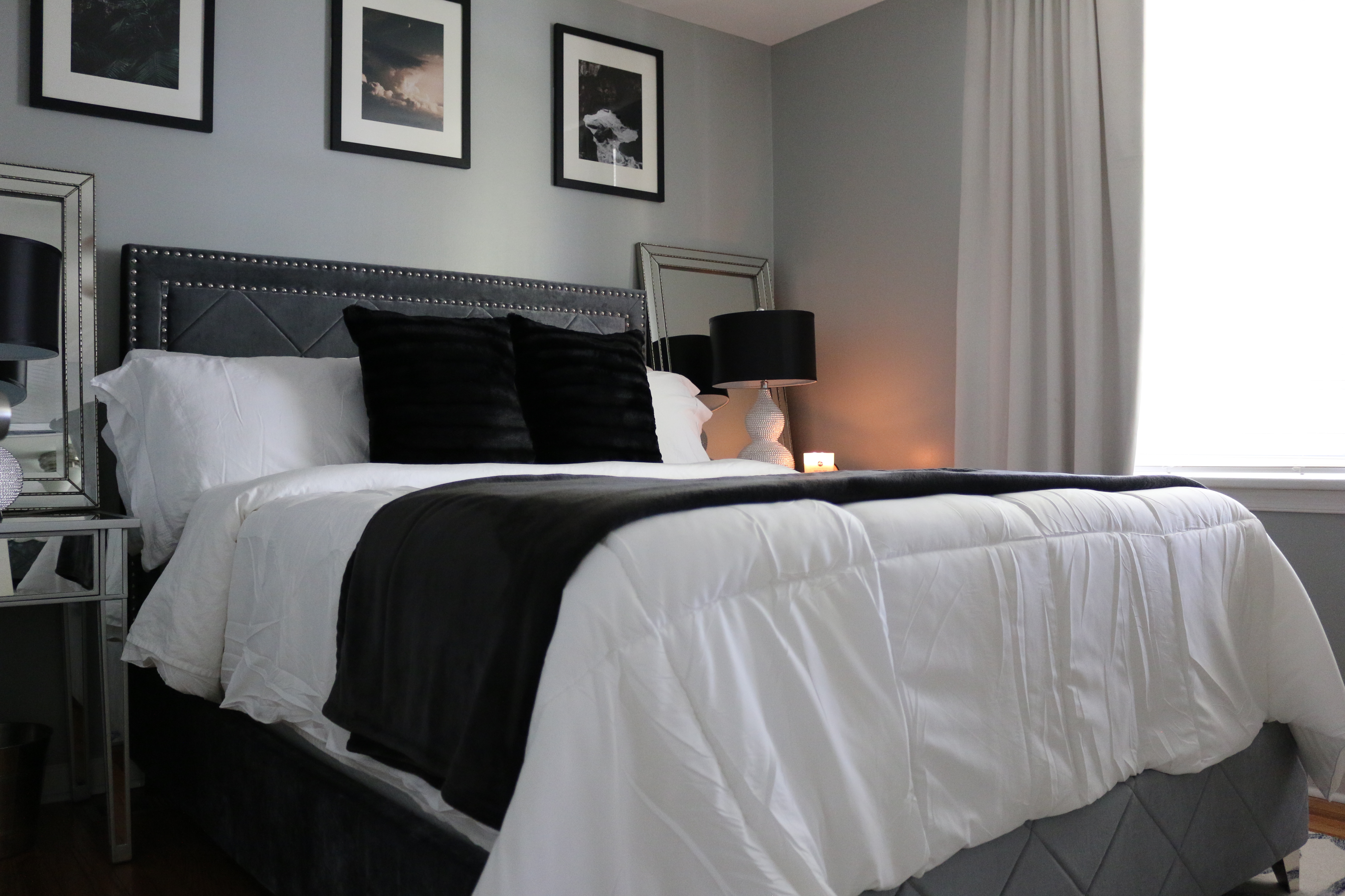 Black, Gray and White Glam Master Bedroom  Bed Wayfair