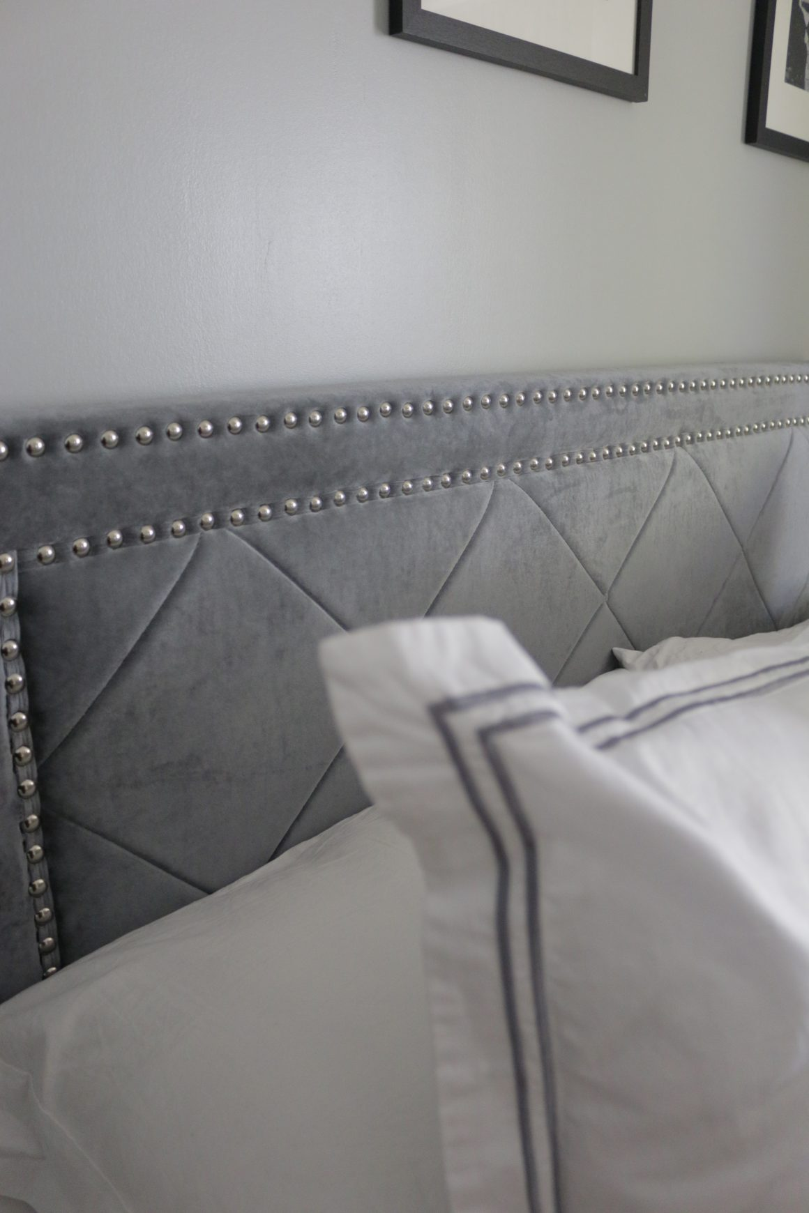 Black, Gray and White Glam Master Bedroom  Bed