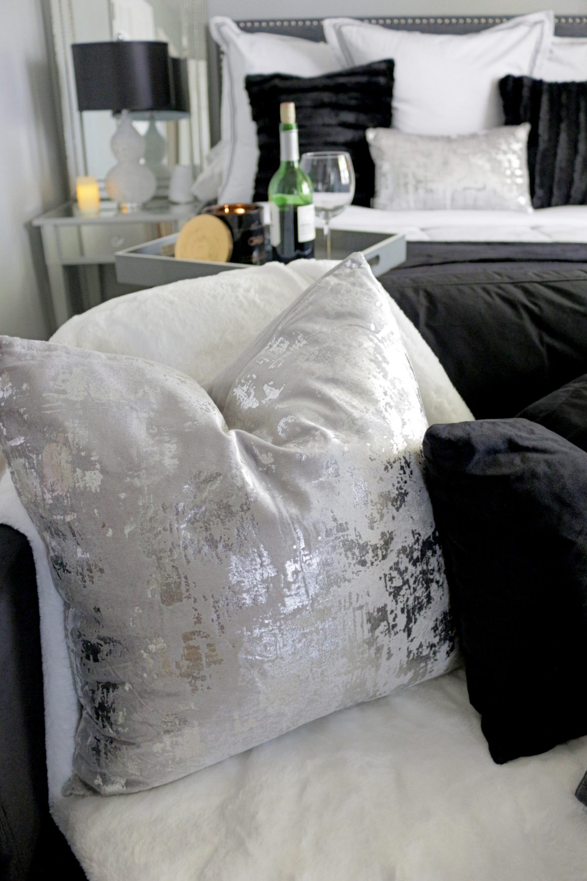 Black, Gray and White Glam Master Bedroom  Overstock Pillows