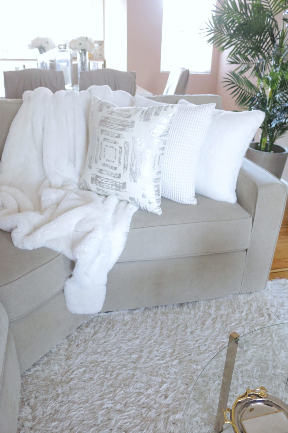 Throw Pillows White and Beige Updated Living Room